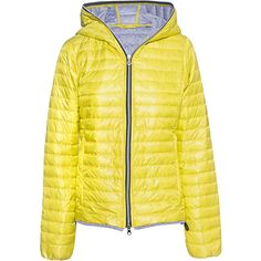 DUVETICA Eeria Yellow // Lightweight down jacket (7,970 MXN) ❤ liked on Polyvore featuring outerwear, jackets, fleece-lined jackets, drawstring jacket, yellow jacket, lightweight down jackets and light weight down jacket