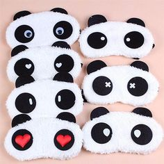 Gift New Adorkable Panda Face Eye Travel Sleep Lightproof Mask Blindfold Portable Nap Cover Help sleep YIQIU Cartoon Panda, Cartoon Eyes, Cute Cartoon, Panda Eyes, Panda 3d, Panda Bear, Eye Pain, Tapas, Cat Eye Gel