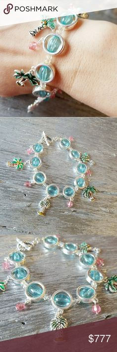 """""""TROPICAL VIBES"""" BRACELET Brand new Boutique item PRICE is FIRM   Playful multi colored bracelet with palm tree charms, pink and blue bead details on silver toned metal. Details are as seen in pics  Cruise tropical Hawaii vacation palm tree trees beads beaded charms . Jewelry Bracelets"""