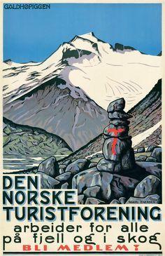 GALDHØPIGGEN   DNT Oslo og Omegn Vintage Ski Posters, Retro Poster, Vintage Postcards, Norway Travel, Dark Winter, Vintage Graphic Design, Vintage Advertisements, Oslo, Pictures