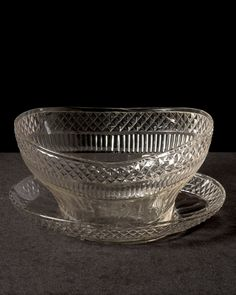 """Waterford cut crystal bowl with underliner, Ireland, circa 1775 Height 5 1/2"""" Wide 9 1/2"""" Long 11"""""""