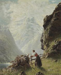 Hans Andreas Dahl (Norwegian, 1881-1919) On the fjord.  signed 'Hans Andreas Dahl' (lower right)  (55.9 x 45.7cm)