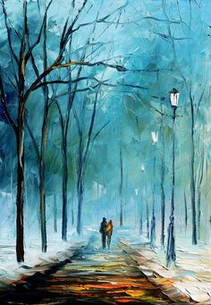 This is an oil painting on canvas by Leonid Afremov made using a palette knife only. You can view and purchase this painting here - afremov.com/WINTERS-FOG-PALETT… Use 15% discount coup...