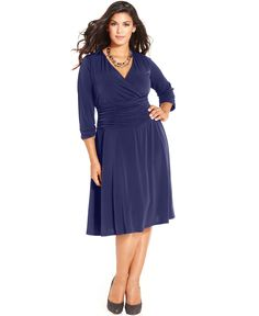 NY Collection Plus Size Ruched A-Line Dress - Dresses - Plus Sizes - Macy's