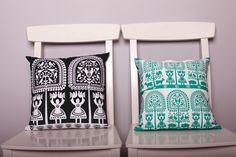 poduszki, motyw kurpiowski, kurpie, design, na ludowo, ludowe, folk, folklor