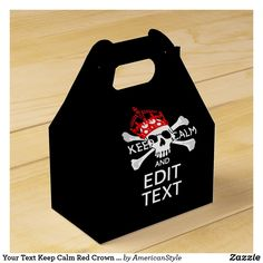 Your Text Keep Calm Red Crown Crossbones Skull Favor Box Keep Calm Crown, Pirate Party Invitations, Embroidered Baseball Caps, Pirate Birthday, Skull And Crossbones, Feeling Special, Favor Boxes, Favors, Birthday Parties