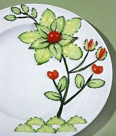 this is food art! love it. cucumbers and tomatoes.