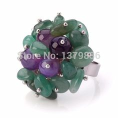 Find More Rings Information about Lovely Handmade Cluster Style Aventurine And Round Purple Agate Adjustable Metal Ring,High Quality Rings from Lucky Fox Jewelry on Aliexpress.com