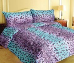 Amazon.com: Pink and Blue Leopard Print 4 Piece Comforter, Sheet,  Pillowcase Set - Twin -: Bedding  Bath