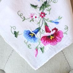 Handkerchief Blush Pink with Embroidered Morning Glories Bridal Hankie Hand Embroidery, Embroidery Designs, Blue Morning Glory, Pin Logo, Pink Bird, Vintage Handkerchiefs, New Theme, Morning Glories, Hand Stitching