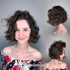 Messy Curly Combover Bob Hairstyle Curly Hair With Bangs, Haircuts For Curly Hair, Curly Hair Cuts, Short Curly Hair, Hairstyles Haircuts, Short Hair Cuts, Curly Hair Styles, Medium Hairstyles, Latest Hairstyles