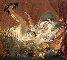 Jeune Fille faisant jouer son chien sur son lit (1765-72). Jean-Honoré Fragonard (huile sur toile, 70 × 87 cm) Fondation Cailleux, Paris. Fragonard a réalisé plusieurs variantes du thème de la très jeune fille jouant sur son lit avec son chien. Les jambes relevées et la présence caressante et ludique de l'animal permettent au peintre d'éveiller sensualité et érotisme. ==> http://www.rivagedeboheme.fr/pages/arts/peinture-18e-siecle/jean-honore-fragonard.html