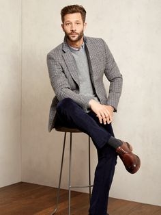 Heritage Check Modern Jacket, Corduroy Trousers and Cashmere Crew Neck Sweater