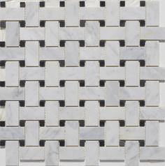 Carrara White Basketweave Polished Mosaic Tiles with Black Dots