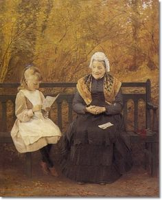James Hayllar - Reading For Grandmother - Approximate Original Size - 24x28 Painting