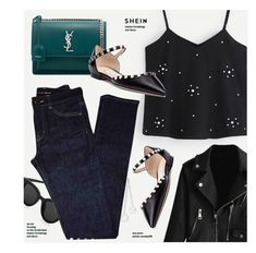 """""""8:38"""" by monmondefou ❤ liked on Polyvore featuring Yves Saint Laurent, Jimmy Choo and fancyflats"""
