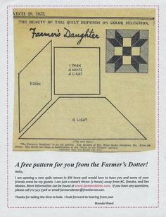 This is an original pattern from the Kansas City Star, March me know if you want a copy thru email.from cher tapestry Vintage Quilts Patterns, Star Quilt Patterns, Patchwork Patterns, Pattern Blocks, Paper Patterns, Patchwork Quilting, Old Quilts, Antique Quilts, Barn Quilts
