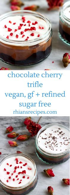 This Gluten-Free Vegan Chocolate Cherry Trifle is so easy to make, super delicious, and perfect for the festive season! Vegan Dessert Recipes, Vegan Sweets, Easy Desserts, Real Food Recipes, Vegetarian Desserts, Healthy Desserts, Baking Recipes, Free Recipes, Chocolate Cherry