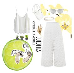 """""""blanca"""" by seutepanee ❤ liked on Polyvore featuring Lost Ink, Chicwish, 3.1 Phillip Lim, Oscar de la Renta, Chicnova Fashion, Humble Chic, TrickyTrend and culottes"""