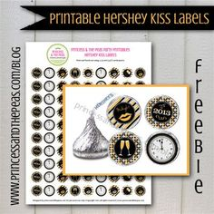 Grab your FREE printable New Year's Eve Hershey Kiss labels!  #freeprintables #newyearseveparty #newyearseve #newyearseveprintables
