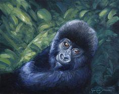 Nestled - Mountain Gorilla - 8x10 Oil on canvas