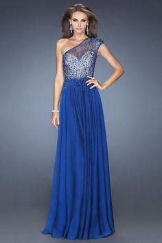 2014 One Shoulder A Line Beaded Tulle Bodice Full Length Prom Dress Hot Selling