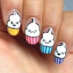 New Nail Art 2017 The Best Nail Art Designs Compilation August 2017 Funky Nails, Love Nails, Pretty Nails, Food Nail Art, New Nail Art, Kawaii Nail Art, Cute Nail Art, Cupcake Nail Art, Nails For Kids