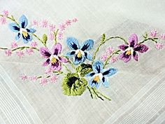 Vintage Hand Embroidered Floral Handkerchief Hanky. Click on the image for more information.