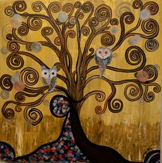 Original Acrylic Artwork By MiMi Stirn - HooMasters Collection -HooKlimt #414 This series consist of renditions of the great artist of times past. Gustav Klimt, another abstract favorite of mine had h