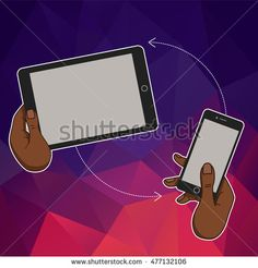 Hand keeps mobile phone, tablet. Internet cloud trends and network in mobile smartphone. Vector template of cloud service and technology network. Mobile phone and tablet in hands. Cloud technologic