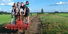 A red rail handcar is running through green fields. Green Fields, Finland, Places To Go, Running, Red, Keep Running, Why I Run