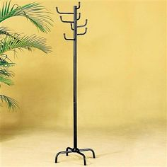 Traditional Simplistic Design Eight hooks Black Coat and Hat Rack