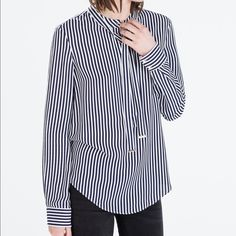 Zara tied long sleeved striped blouse ✨BRAND NEW✨ SAVE MONEY WHEN YOU BUNDLE NO TRADE Zara Tops Blouses