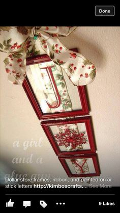 Dollar store photo frames painted, Christmas ribbon and sticker letters