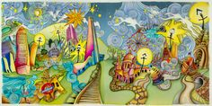 """London panorama, (2 page spread) From Lizzie Mary Cullen book """"Magical City"""". Colored by Me (Roger Malinowski) using Tombow and Winsor & Newton watercolor markers"""