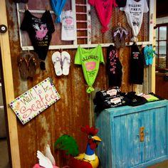 Tshirts display on grandmas old door