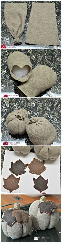 No-Sew Sweater Pumpkins - Fabric Crafts No Sew Sweater Pumpkins, Fall Pumpkins, Burlap Pumpkins, Autumn Crafts, Thanksgiving Crafts, Fall Halloween, Halloween Crafts, Teal Pumpkin Project, Clutch Tutorial