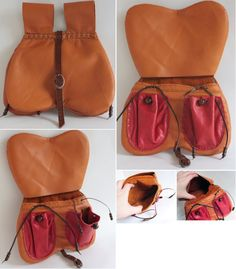 Orange Bollock Pouch by Archanejil on DeviantArt Leather Work Bag, Small Leather Bag, Leather Pouch, Leather Purses, Leather Backpack, Leather Bags, Belt Pouch, Pouch Bag, Pouches