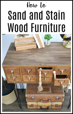 Learn how to stain wood in this refinished card catalog tutorial with Minwax products. #ad DIY makeover ideas by Girl in the Garage Home Decor Furniture, Furniture Makeover, Painted Furniture, Refinished Furniture, Furniture Refinishing, Furniture Ideas, Transforming Furniture, Furniture Making, Diy Furniture Tutorials