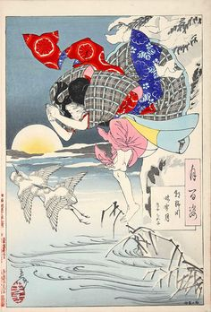 『朝野河晴雪月 孝女ちか子』(『月百姿』シリーズ、作・月岡芳年) Yoshitoshi Tsukioka 1885