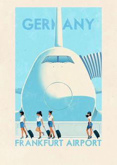 Frankfurt, Germany travel poster  Lounging at the Waldorf
