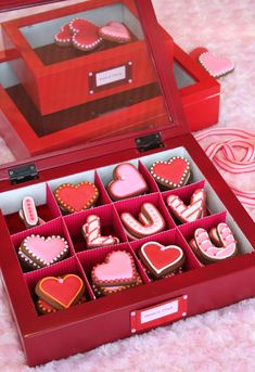 TUTORIAL: Box of Cookie Love Letters for Valentine's Day, by Julia M. Usher. See my version with edible box in my new book Ultimate Cookies.