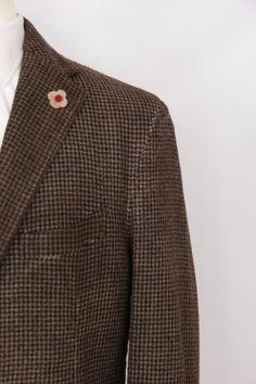 Lardini Men's Brown 100 Wool Houndstooth