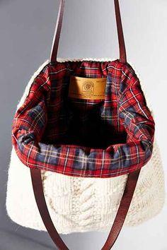soft sweater-knit tote bag - love the plaid interior! soft sweater-knit tote bag - love the plaid interior! Tweed, Mk Bags, Urban Fashion, Fast Fashion, Tartan Plaid, Plaid Purse, Black Tights, Tote Bag, Sale Items