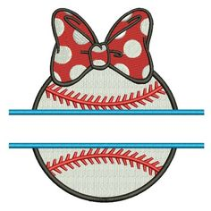Baseball Girl With a Bow Split Filled Machine Embroidery Digitized Design Pattern #Baseball #embdoidery #appliques #filled