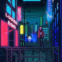 Little Cyberpunk GIF-dump Pixel Art Gif, Pixel Art Games, Cyberpunk Aesthetic, Cyberpunk City, Vaporwave, Anim Gif, Animated Gif, Arte 8 Bits, Pixel Art Background