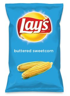 """""""inspired by the natural taste of farm-grown golden yellow sweetcorn,coated w/ great tasting butter and sprinkled w/ sugar #lays #dousaflavor""""Wouldn't buttered sweetcorn be yummy as a chip? Lay's Do Us A Flavor is back, and the search is on for the yummiest flavor idea. Create a flavor, choose a chip and you could win $1 million! https://www.dousaflavor.com See Rules."""
