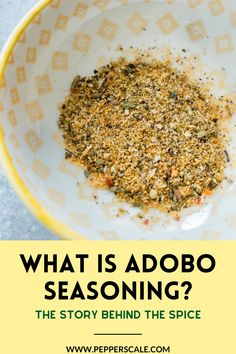 Adobo seasoning is a staple spice blend popular with Latin and Caribbean cooks. The adobo part of the name comes from the Spanish word adobar, which means marinate or marinade. It comes from the Spanish and Portuguese practice of pickling meats with vinegar and spices. #adoboseasoning #adobo #spice Healthy Italian Recipes, Good Healthy Recipes, Spicy Recipes, Indian Food Recipes, Whole Food Recipes, Ethnic Recipes, Dip Recipes, Healthy Food, Pickled Meat