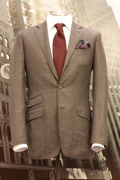 Brown Suit Burgundy Tie Pocket Square Alton Lane - He Spoke Style ...