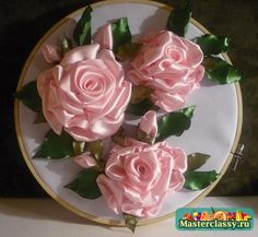 Вышивка лентами розочки Мастер класс розы из лент Розовое настроение